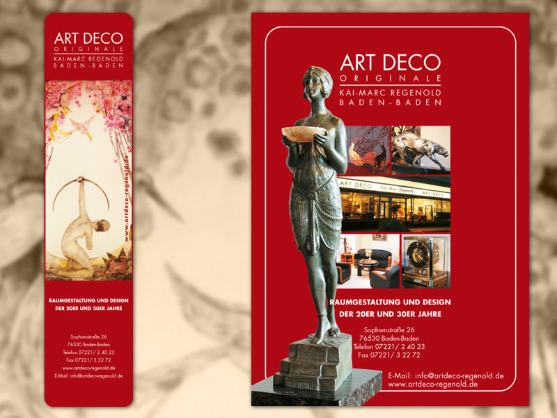 Art Deco Regenold, Antiquitaeten // Anzeigen, Flyer